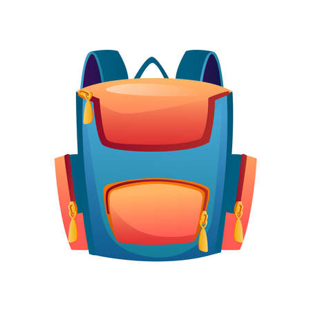 Rucksack for kids or adults, isolated backpack with pockets and handle. Modern design of satchel for supplies and stationery. Satchel or knapsack contemporary design. Flat cartoon style vector