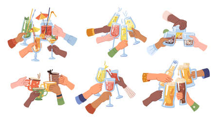 Celebration and toasting, cheers hands holding beer and cocktail, champagne and strong drinks, coffee and tea. Festivity and cheering, pub or bar establishment for partying. Flat cartoon vector