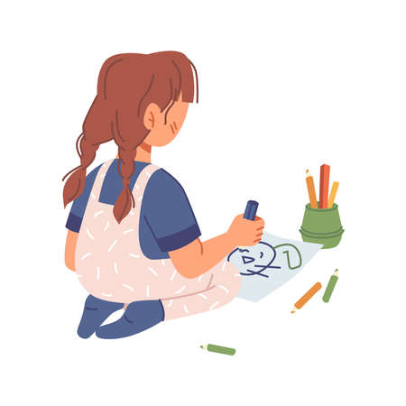Preschool girl drawing on paper with crayons, small kid playing and creating picture with colorful pencils. Activities and hobbies in kindergarten, preschool lessons. Flat cartoon character vector