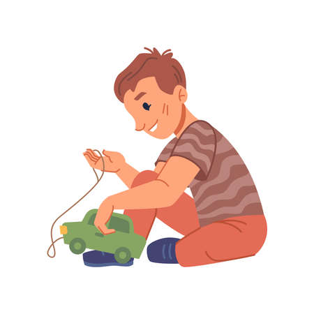 Active boy kid playing with plastic car toy, isolated kiddo from kindergarten or preschool educational establishment. Happy childhood, nursery daycare or playground. Flat cartoon character vector 矢量图像