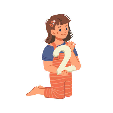 Small girl with big number learning to count, isolated female personage with toy. Education and development of mathematics and arithmetic skills. Preparing for school. Flat cartoon character vector