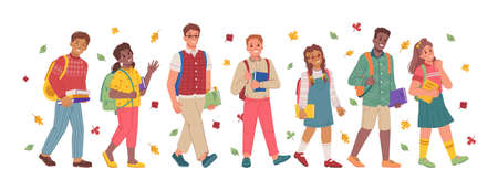 Children and teenagers with books walking to school, pupils and students with supplies and back strolling to lessons. Autumn season with falling leaves and foliage. Flat cartoon character vector 矢量图像