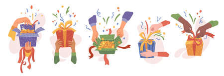 Hands packing or unpacking presents in boxes, isolated set of opening gifts. Celebration and surprise for holiday or special event. Birthday or christmas festivity. Vector in flat cartoon style 矢量图像