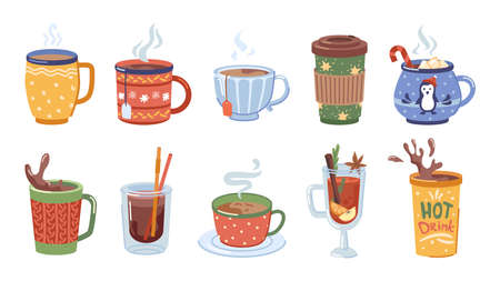 Beverages and hot drinks for winter, christmas set of cups with coffee, tea and cocoa with marshmallows. Melted chocolate and aromatic mulled wine, warm cappuccino. Vector in flat cartoon style