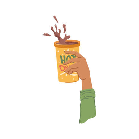 Cup with hot chocolate or coffee, isolated hand holding tasty warm drink served in restaurant or cafe. Aromatic beverage in mug, splashes of liquid advertisement. Vector in flat cartoon style