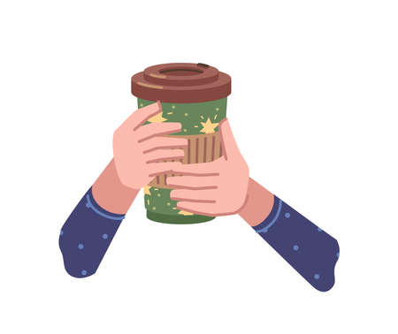 Take away coffee, hot beverage poured in paper or plastic cup. Isolated hands holding tasty drink with lid, chocolate or cappuccino, americano or espresso to go. Vector in flat cartoon style 矢量图像