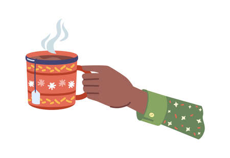 Hot beverage with steam poured in cup with xmas ornaments. Isolated hands holding mug of coffee or tea, tasty drink in cafe or restaurant. Homemade herbal liquid. Vector in flat cartoon style