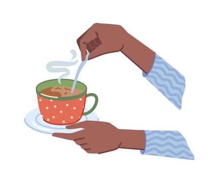 Coffee or hot chocolate drink poured in cup and served with saucer and spoon. Isolated hands holding mug of tea, cappuccino or latte with steam. Cafe or restaurant. Vector in flat cartoon style 矢量图像