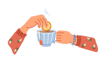 Drinking or making aromatic hot beverage, isolated hands holding cup of tea with slice or lemon or orange and bag. Warm drink in restaurant or cafe, served in mug. Vector in flat cartoon style 矢量图像