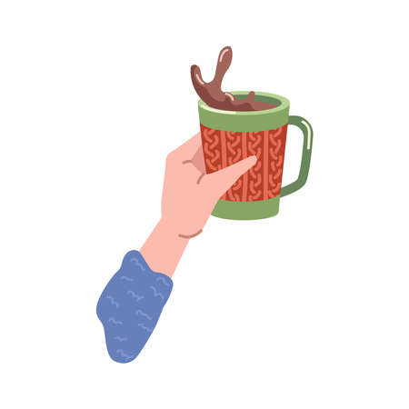 Beverage splash in cup of coffee or hot chocolate drink. Isolated hand holding tasty cappuccino in mug, served portion in cafe or restaurant. Americano or espresso. Vector in flat cartoon style