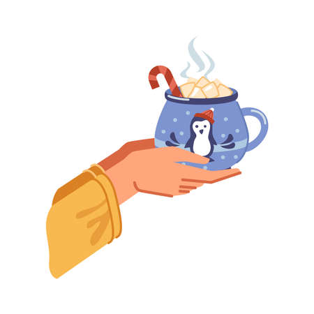 Traditional winter drink of cocoa with melting marshmallows poured in cup. Hands holding beverage with candy stick, mug with xmas penguin decoration. Vector in flat cartoon style illustration 矢量图像