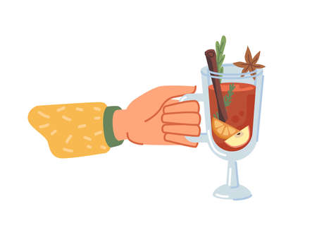 Hot beverage served in glass cup, isolated hand holding mulled wine with spices. Drink with anise and cinnamon stick, citrus slice and delicious flavor. Christmas menu. Vector in flat cartoon style
