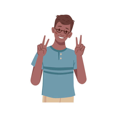 Gesturing boy showing victory or peace sign, isolated schoolkid wearing glasses. Symbol of success and winning, expressive student or pupil. Preteen kiddo. Flat style cartoon character vector