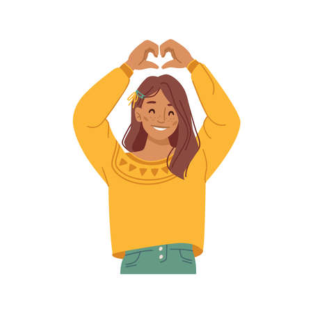 Girl kid showing heart sign with hands, isolated female personage preteen smiling and gesturing. Love and devotion, support and charity symbol of caring and empathy. Flat style cartoon character