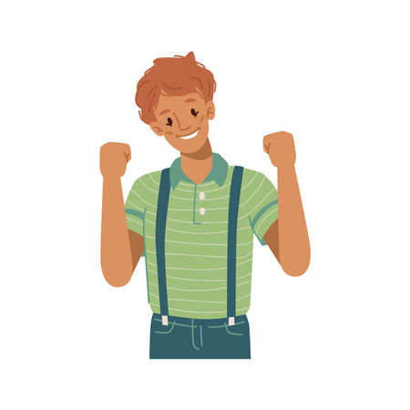 Boy kid raising fists gesturing and celebrating victory, isolated child smiling and enjoying triumph. Excitement of kiddo, happy expression on face and posture. Flat style cartoon character vector