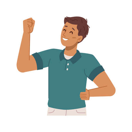 Happy boy kid gesturing showing muscles, isolated personage expressing strength and power. Confidence and excitement, cool guy with muscular hand with biceps. Flat style cartoon character vector 矢量图像