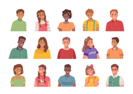 Portraits of smiling and happy children, isolated boys and girls. Avatars of kids, male and female personages preteen people with positive expression on faces. Flat style cartoon character vector