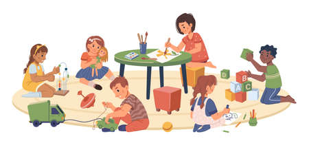 Kindergarten kids playing and studying, isolated children drawing and cuddling doll. Montessori system of education for preschoolers and toddlers. Development of skills. Flat cartoon character vector
