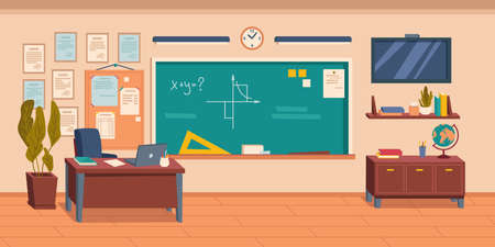 Interior of empty school, college or university classroom or auditorium. Room with blackboard and furniture and equipment for studying. Desk with laptop and wall tv screen. Vector in flat style