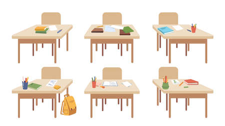 School wooden desks with supplies and equipment for lessons. Isolated set of tables with books and notebooks, crayons and pencils for classes. Obtaining knowledge. Vector in flat cartoon style