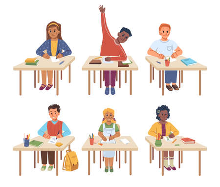 Children studying in school sitting by desks at lesson. Isolated kids writing down information and asking questions or answering. Boy raising hand and girl drawing on paper. Flat style cartoon vector