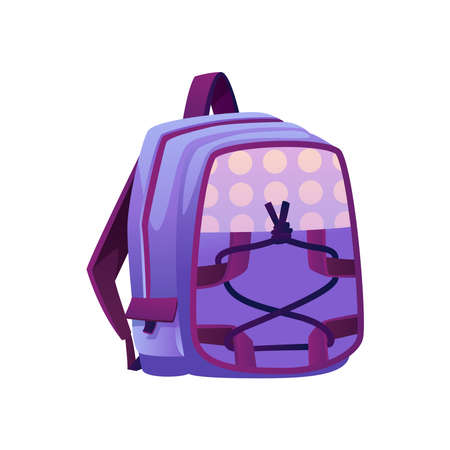 School backpack, isolated satchel with straps and dotted print. Personal bag made of fabric. Knapsack with pockets and zippers, rucksack for college students and pupils. Flat cartoon style vector