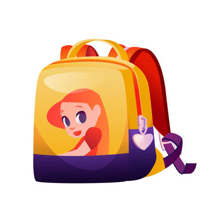 Girlish schoolbag with girl character, isolated modern design of backpack for school. Feminine rucksack with zipper in form of heart. Childlike bag, sack for carrying. Flat cartoon style vector 矢量图像