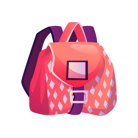 Satchel for girl with pockets and geometric print. Isolated girlish bag with straps. Flexible textile bag for personal belonging, fabric backpack. Baggage with clasp. Flat cartoon style vector
