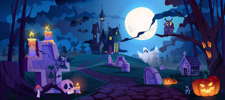 Graveyard and high spooky castle on top, cemetery with skulls and candles, pumpkins with lights and ghosts. Halloween landscape scene, small boneyard with tombstones and dry trees. Cartoon vector 矢量图像