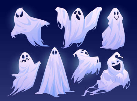 Good and evil ghosts of halloween, isolated set of personages in costumes. Floating apparitions with facial expression of sadness, joy and anger. Spooky monsters. Flat cartoon character vector 矢量图像