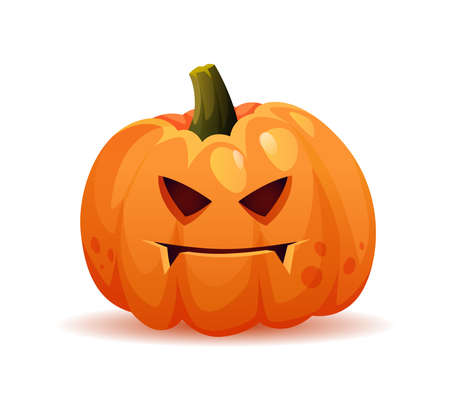 Spooky and evil halloween pumpkin personage with frown on face, scary expression of symbol of october holiday. Vegetable with cut holes in form of eyes and mouth. Realistic cartoon character vector 矢量图像