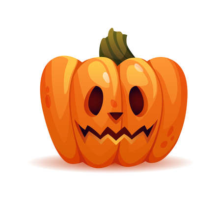 Scary halloween pumpkin personage with stunned facial expression or shock. Vegetable with carved face, eyes and mouth. Trick or treat celebration in autumn. Realistic cartoon character vector