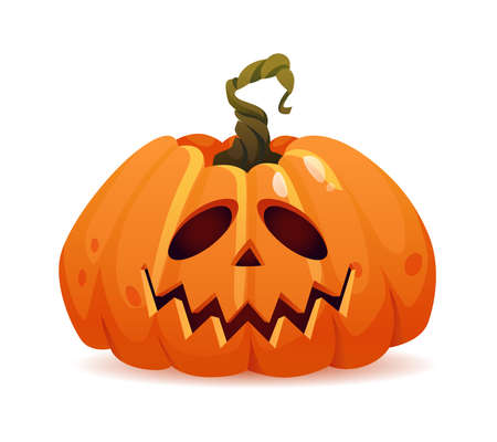 Kind halloween pumpkin with good emotion, isolated personage with smiling face. Vegetable symbol of autumn holiday in october. Carved jack o lantern. Realistic cartoon character vector illustration
