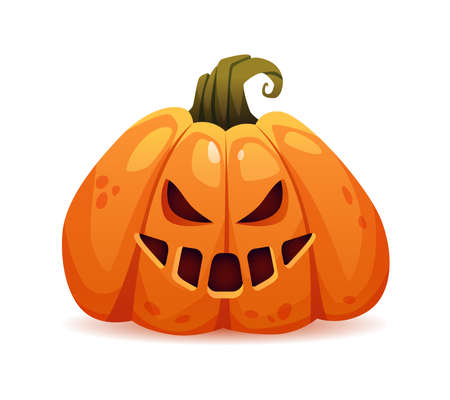 Scary halloween pumpkin with evil facial expression and bad emotions. Grinning and laughing face of autumn personage. Furious jack o lantern, trick or treat. Realistic cartoon character vector 矢量图像