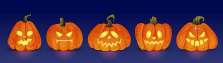 Good and evil glowing halloween pumpkin characters, haunting jack o lanterns with light. Trick or treat, autumn holiday celebration. Seasonal events and fun. Realistic cartoon character vector 矢量图像