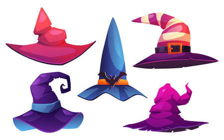 Headwear of witches and wizards, isolated set of pointed cone hats decorated with buckles and belts, funny bats. Halloween costume for party, carnival or masquerade. Cartoon vector illustration 矢量图像