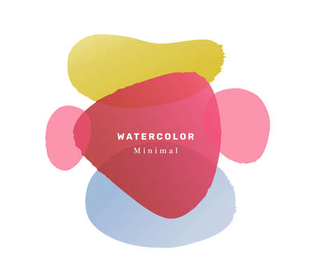 Modern banner with watercolor liquid blobs and shapes design. Isolated composition with inscription. Trendy contemporary invitation card or postcard or promo poster template. Flat cartoon vector