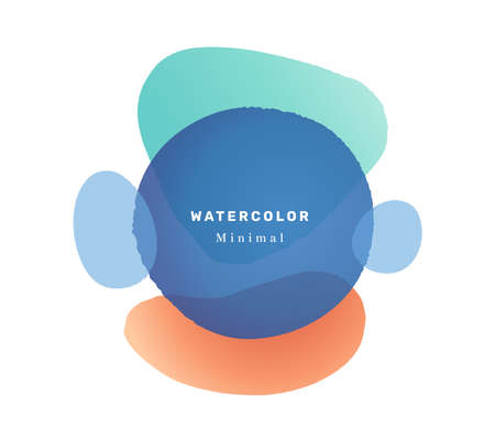 Minimalist watercolor liquid shape blob design, isolated abstract banner with inscription. Composition with contemporary look, postcard or invitation card or pastel poster. Flat cartoon vector 矢量图像