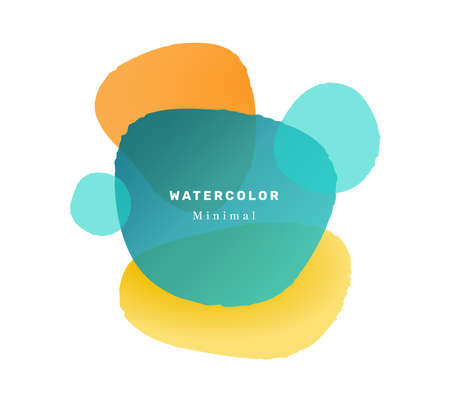 Watercolor liquid blob shape composition with inscriptions. Isolated minimalist design, abstract banner with geometric forms. Promo poster or flyer, vibrant modern postcard. Flat cartoon vector
