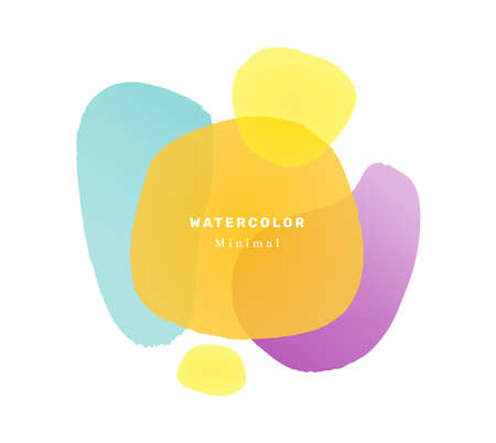 Minimalist watercolor banner with text, isolated abstract design of liquid shape blob. Contemporary composition with inscription. Geometric postcard or print for poster card. Flat cartoon vector