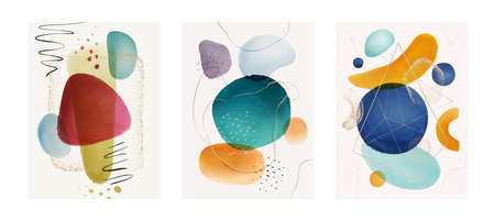 Covers and pages designs with abstract watercolor compositions, blobs and brushes. Gold and glitter shapes on posters or postcards. Minimalist cards, trendy and contemporary. Flat cartoon vector