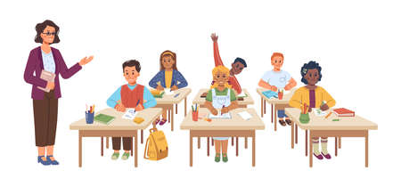 School lesson educational process, isolated teacher and children sitting at desks. Professor asking kid raising hand, obtaining knowledge, practice at classes. Flat style cartoon character vector