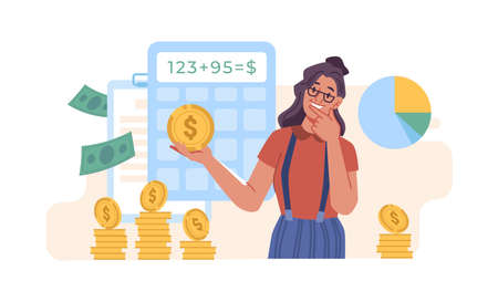 Calculation, bookkeeping investment money concept, flat cartoon. Vector woman with calculator counting, thinking about profit. Economic audit, financial analysis, tax accounting, bill payment
