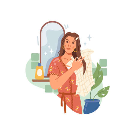 Woman wipes her hair with towel isolated flat cartoon character. Vector young caucasian girl in bathroom wiping hair after shower, mirror with shampoo bottle on background, green plant in pot 矢量图像