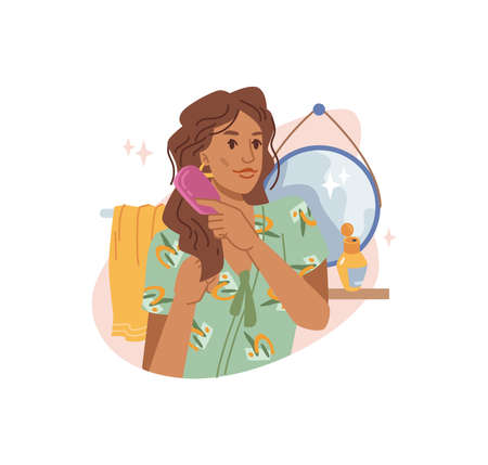 Young brown-haired woman combing her long curly hair with comb at home, mirror and towel on background. Vector haircare procedure, lady brushing hair with haircomb, flat cartoon illustration 矢量图像