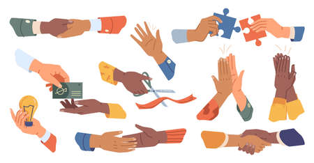 Handshake, giving high five, applauding, greeting hands making puzzle isolated cartoon set. Vector arm cutting ribbon project start, lamp in hands symbol of new idea, card payment or loan, cooperation