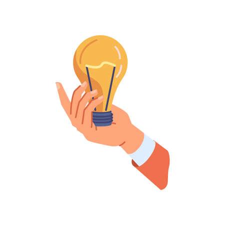 Hand holding light bulb, business idea concept flat cartoon illustration. Vector lightbulb solution and brainstorming symbol, illumination and innovation, creativity inspiration, lighting equipment