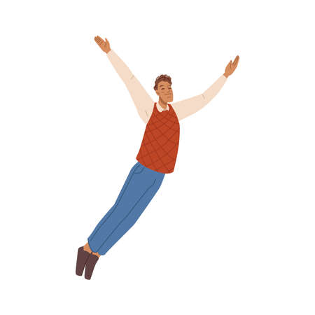Cartoon freedom man flying in air, development and happiness concept isolated flat cartoon character. Vector jumping man with wide spread hands. Falling businessman, winner, cheerful freelancer