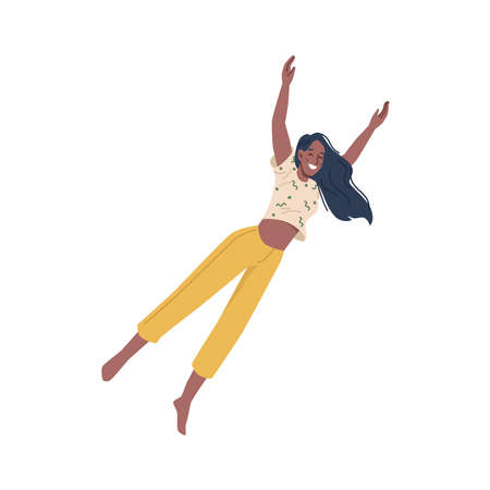 Happy afro american woman fly in air isolated flat cartoon character. Vector falling businesswoman, cheerful winner with emotion of happiness and joy. Positive feelings, flying in dreams, imagination 矢量图像