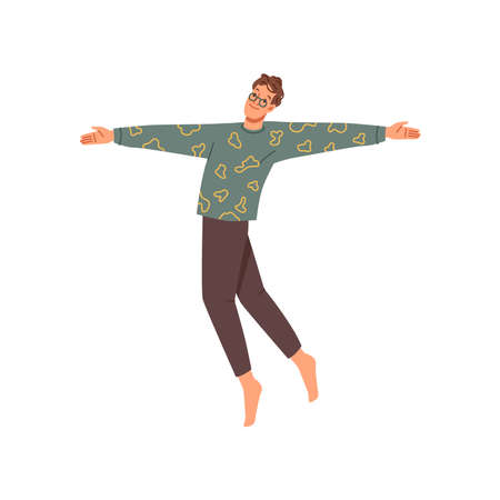 Happy freedom man flying in air, euphoric feeling of joy and happiness, flat cartoon character. Vector happiness concept, jumping male with wide spread hands. Falling winner, cheerful freelancer 矢量图像